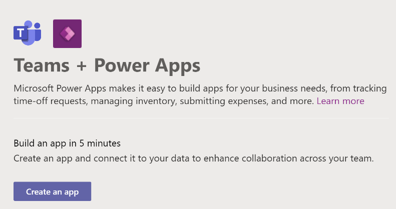 Screenshot of a dialog box inviting user to create an app for Microsoft Teams using Power Apps