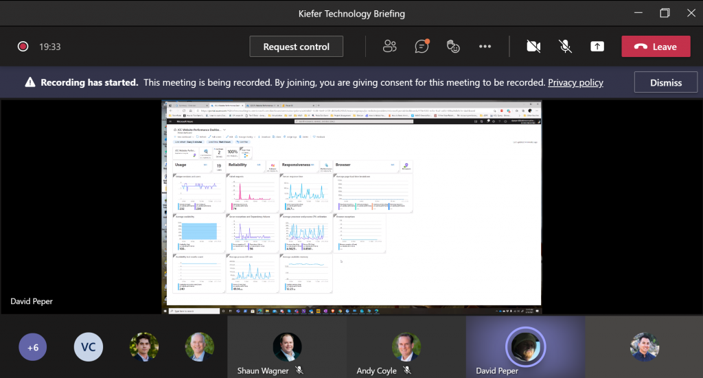 Image of a Microsoft Teams meeting Tech Briefing with Kiefer Employees